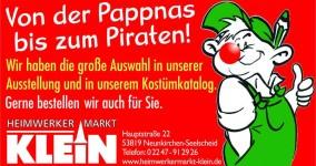 Ob Pappnas oder Pirat - Karneval im Heimwerkermarkt Klein